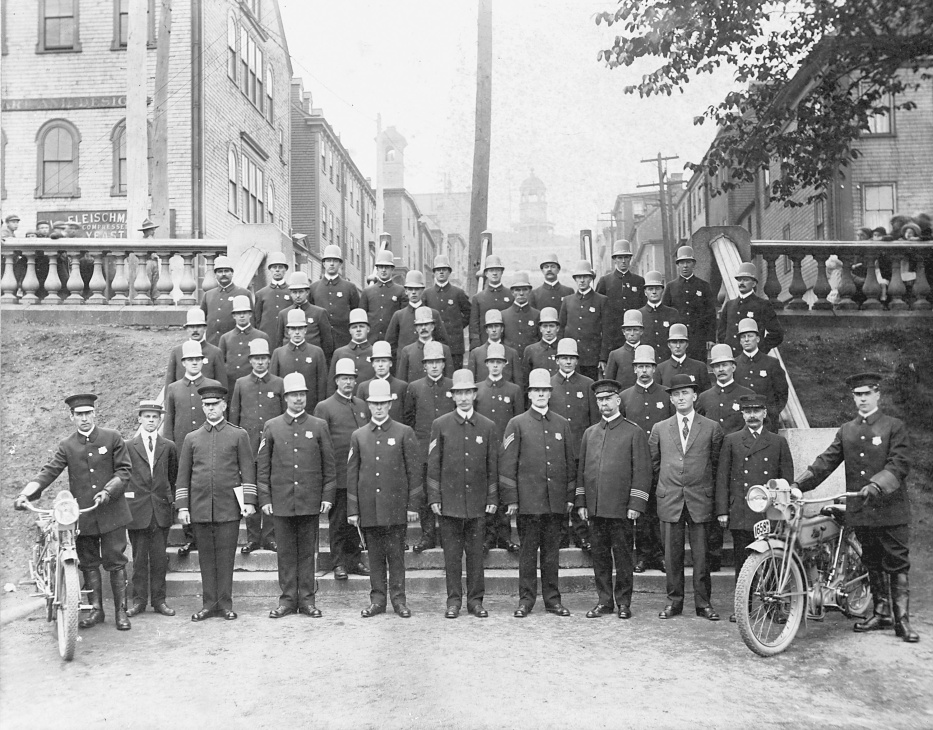 Halifax City Police on the Grand Parade steps, Halifax, Nova Scotia 1914