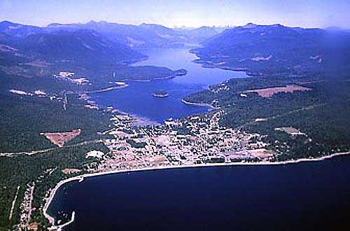 aerial view of Sechelt, British Columbia