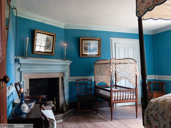"a typical plantation 'bedchamber' from the time period in which ""The Mistress of Tall Acre"" is set."
